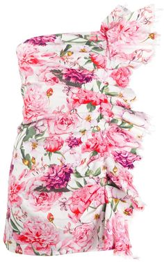Multi-coloured cotton blend floral print mini dress from Laneus featuring an all-over print, a strapless design, a ruffle trimming, a concealed fastening and frayed edges. Stage Outfits, Fall Outfits, Summer Outfits, Cute Outfits, Fashion Brand, Luxury Fashion, Fashion Design, Floral Tops, Floral Prints
