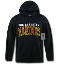 United States Marines Pullover Hoodies hoodie featuring a screen printed chest logo adjustable drawstrings Black Imported Pullover Hoodie, Hooded Sweatshirts, Hoodies, Marines, Usmc, United States, The Unit, Den, Logo