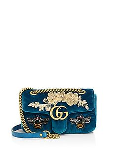 Gucci GG Marmont Mini Embroidered Velvet Chain Shoulder Bag