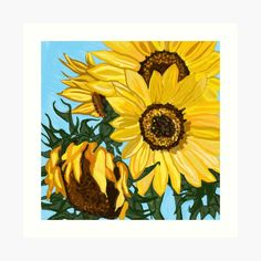 'Sunny sunflowers' Art Print by Laurajart Sunflower Art, Gouache, Sunflowers, Sunnies, Bubble, My Arts, Art Prints, Printed, Awesome