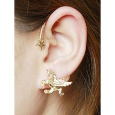 Choies Golden Star And Unicorn Embellished Ear Cuff ($1.90) found on Polyvore featuring women's fashion, jewelry, gold, yellow gold jewelry, gold star jewelry, gold jewellery, star jewelry and gold ear cuff