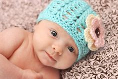 The Dainty Daisy: free pattern - Shell Stitch Beanie Baby Hat Bonnet Crochet, Crochet Baby Hats, Crochet Beanie, Free Crochet, Knit Crochet, Crocheted Hats, Crochet Girls, Newborn Crochet Hat Girl, Easy Crochet