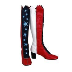 Patriotic Shoes for Women   1960's Wonder-Woman Patriotic Knee-High Leather Go-Go Boots