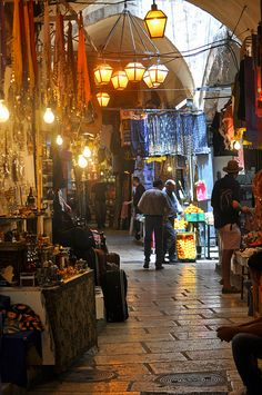 Markets in the narrow streets of Jerusalem, Israel