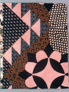 Technique: pieced and quilted plain weave. Gift of Mrs. Benjamin Ginsburg