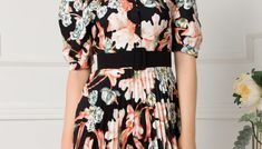 Rochie Larissa neagra cu imprimeu floral caramiziu si fusta plisata Short Sleeve Dresses, Dresses With Sleeves, Floral, Fashion, Moda, Sleeve Dresses, Fashion Styles, Flowers, Fashion Illustrations