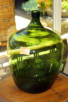 Vintage Antique Large Green Gl Wine Jug With Wicker