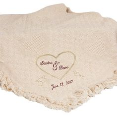 Embroidered Wedding Heart Afghan 100 Cotton 36 x 48 wedding gift ** Check out the image by visiting the link.