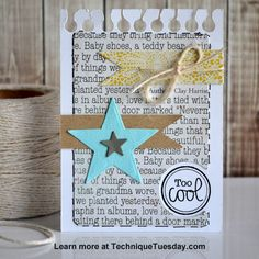 A pocket page-friendly Story Card created with clear stamps and steel dies from TechniqueTuesday.com. Click on the photo for the how-to tutorial. Lots of process photos.