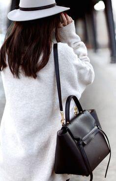 #street #style / grey hat + black bag