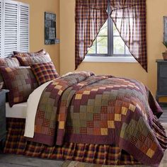 Heritage Farms Queen Quilt 90 x 90 from VHC Brands (Victorian Heart). The Heritage Farms Quilt is decorated with cascading blocks of various crimsons, mustards, Primitive Bedding, Rustic Bedding, Modern Bedding, Country Bedding, Country Bedrooms, Bed Sets, Country Decor, Farmhouse Decor, Farmhouse Style