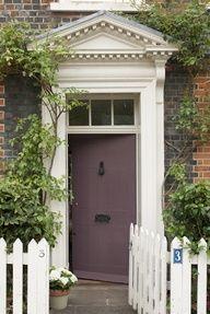front door in farrow & ball brinjal Painted Exterior Doors, Painted Doors, Exterior Paint, Interior And Exterior, Interior Design, Purple Front Doors, Purple Door, Front Door Colors, Farrow Ball