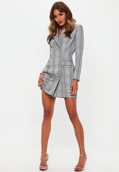 Missguided - Grey Hertitage Check Blazer Dress 2f2910b30