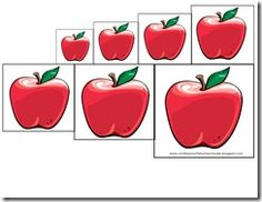 A free printable size sort activity from Confessions of a Homeschooler. This is part of a whole page of apple preschool activities - scr. Apple Activities, Sorting Activities, Preschool Activities, Fall Preschool, Preschool Crafts, Apple Unit, Apple Theme, Apple Seeds, Preschool Printables