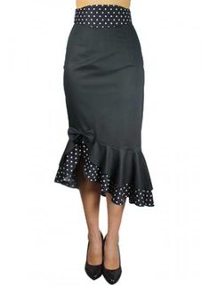 Asymmetric Black/Polkadot Skirt