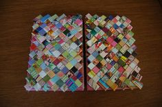 Gum Wrapper Chain Book actually made with recycled magazine strips.  via http://www.making-mini-scrapbooks.com, #upcycledbook, #recycledjournal #journal