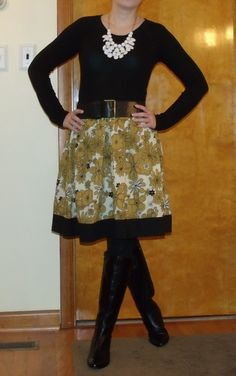 The Lazy Girl Blog: black top, fall floral skirt, boots, statement necklace