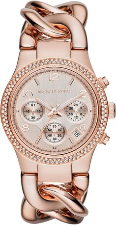 Michael Kors Women's Chronograph Runway Twist Rose Gold-Tone Stainless Steel Bracelet Watch 38mm MK3247 | ≼❃≽ @kimludcom