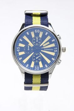What a great watch!  Love the navy and yellow mixed with a lighter or periwinkle blue!