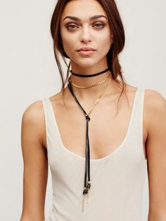 Two Faced Leather Mix Bolo | American made edgy leather bolo featuring 14k gold plated chain detail and knotted design. Adjustable lobster clasp closure makes for an easy wear.