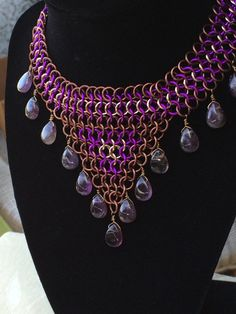 Amethyst & Chainmaille Choker Necklace by TheArmouredRose on Etsy