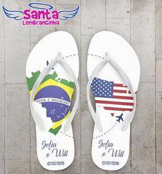 Chinelo Casamento Personalizado, Brasil e EUA