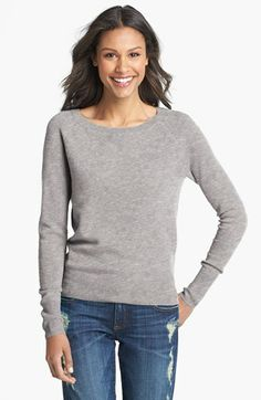 vintage sweatshirt style in cashmere Halogen® Raglan Sleeve Cashmere Sweater available at #Nordstrom