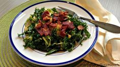 Kale and Brussels Sprout Salad with Pear and Bacon - Merry About Town