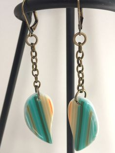 Turquoise Leaf Glass Earrings by MountainviewArtglass on Etsy