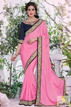 Make your festival special by wearing this pink jacquard designer embroidery saree online with price in India. This latest designer saree garlanded with lace border on saree with patch worked blouse. #partywearsaree, #weddingsaree, #sari, #indianweddingsaree,  #sareewithblouse, #sarees,  #sareecollection,  #buysareeonline, #fashionsaree, #latestsaree, #Indiansaree,  #embroiderysaree More Info.: http://www.pavitraa.in/store/embroidery-saree/ Any Query: Call / WhatsApp : +91-76982-34040