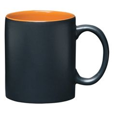 Matte black exterior mug with orange inner, 11 oz. Approximate size: 3 in height. Orange Interior, Branded Gifts, Black Exterior, Quality Logo Products, Corporate Gifts, Ceramic Mugs, Custom Mugs, Aztec, Promotion