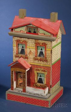 Two Small Lithographed Two-Storey Paper-on-Wood Doll Houses | Sale Number 2383, Lot Number 713 | Skinner Auctioneers