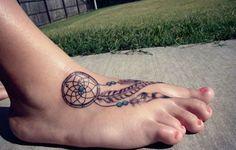 dreamcatcher foot tattoo