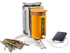 Planning a camping trip this weekend? Here is a multi-tasking camp stove that converts waste heat into electricity, so you can recharge your phone while you roast anything over the fire.