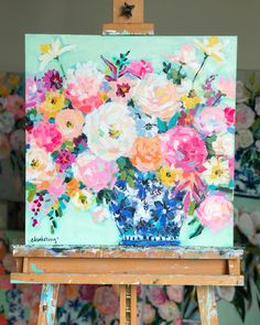 C. Brooke Ring - CLICK HERE to SHOP c. brooke ring artwork - floral painting - flower artwork - peony painting in blue and white ginger jar - modern flower artwork - pink and aqua painting