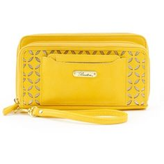 Buxton Polka Dot Laser-Cut Wristlet ($29) ❤ liked on Polyvore featuring bags, handbags, clutches, yellow, vegan leather purse, polka dot purse, laser cut purse, vegan purses and yellow wristlet