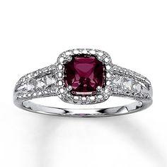 Brazilian Garnet Ring Sapphires, Dianmonds, Sterling Silver. My sweet 16th Birthday Present (: