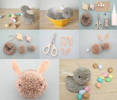 pom-pom-bunny-praktic-ideas - Find Fun Art Projects to Do at Home and Arts and Crafts Ideas Bunny Crafts, Cute Crafts, Easter Crafts, Diy And Crafts, Arts And Crafts, Cool Art Projects, Diy Projects To Try, Craft Projects, Craft Ideas