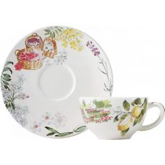 Faïencerie de Gien - Provence - 2 Tasses et soucoupes thé