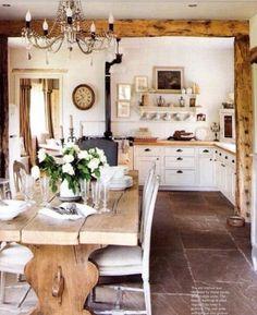 Vintage farmhouse table, wood beam, chandelier