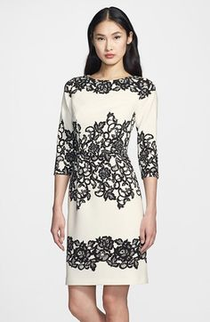 Adrianna Papell Placed Print Sheath Dress (Regular & Petite) | Nordstrom