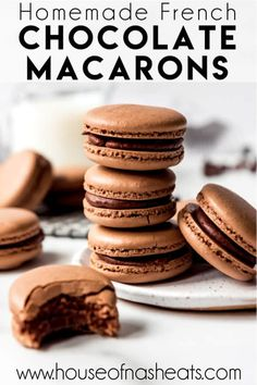 These indulgent Chocolate Macarons are filled with chocolate ganache and easier to make than you would think! Don't be intimidated by this French dessert. Best Dessert Recipes, Easy Desserts, Sweet Recipes, Delicious Desserts, French Recipes, Dessert Ideas, Cake Recipes, Chocolate Macaroons, Chocolate Ganache