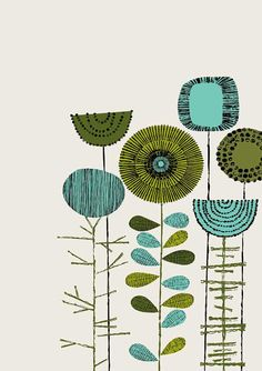Embroidery Flowers Placement Lime, limited edition giclee print by Eloise Renouf. From my Shape Studies range in shades of lime, turquoise and olive. All my images start life as something hand created, either painted, printed or drawn. My images are then digitally coloured.