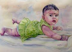 Cute baby in watercolour
