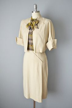 40s Dress // 1940s Tailored Plaid and Khaki by OffBroadwayVintage