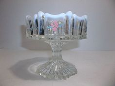Vintage FENTON Art Glass Opalescent Crest Compote Footed Dish Signed C SMITH