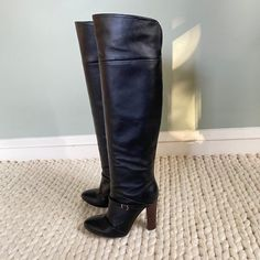 Shoes | Made In Italy Black Leather Over The Knee Boots | Poshmark Leather Over The Knee Boots, Vintage Boots, Black Leather, Italy, Heels, Fashion, Heel, Moda, Italia