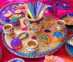 Beautiful multi coloured mehndi plates. See my Facebook page  Www.facebook.com/mehnditraysforfun
