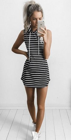 #Summer #Outfits / Halter Striped Short Dress + White Sneakers