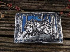 Riley's Toffee tin box vintage medieval blue and silver